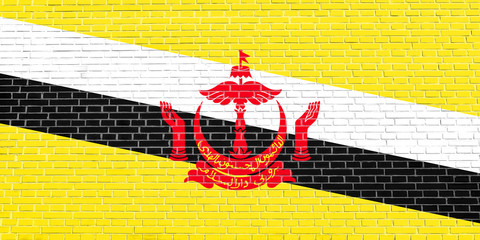 Flag of Brunei on brick wall texture background