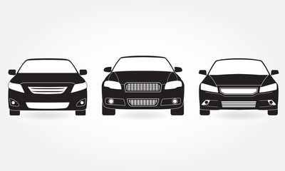 Car icon set. Front view. Vector black vehicle silhouette isolated on white background.