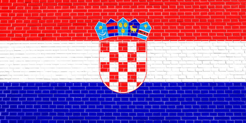 Flag of Croatia on brick wall texture background