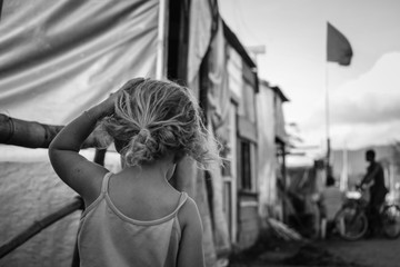 Little girl in occupation camp