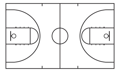 Basketball court. Background for sport strategy. Vector infographic element.