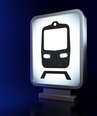 Tourism concept: Train on billboard background