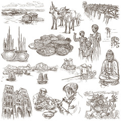 Vietnam. Pictures of Life. Freehands, hand drawn collection.