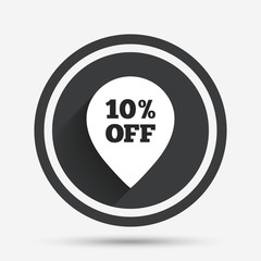10 percent sale pointer tag sign icon.