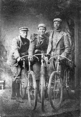 Vintage Tintype three gents with antique bicycles circa 1860s - Guys with bikes, three men early boneshaker