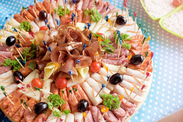 Catering food with mix of different salami