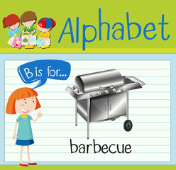 Flashcard letter B is for barbecue
