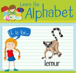 Flashcard letter L is for lemur