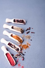 Aromatic spices on wooden spoons.