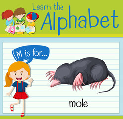 Flashcard letter M is for mole
