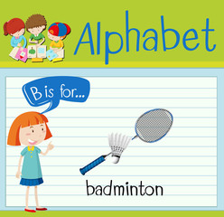 Flashcard letter B is for badminton