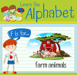 Flashcard letter F is for farm animals