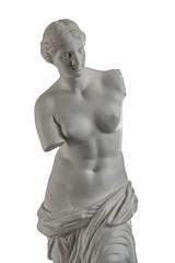 gypsum plaster sculpture of Venus on a white background
