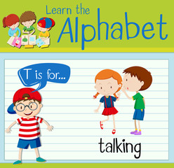 Flashcard letter T is for talking