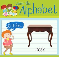 Flashcard letter D is for desk