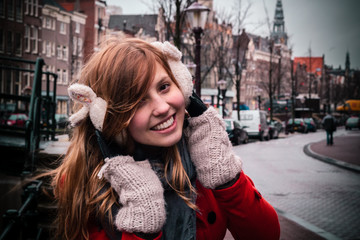 Young Girl Smiling and Looking at Camera in Amsterdam, Netherlan