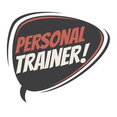 personal trainer retro speech balloon
