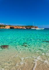 Boats anchored at the bay of Cala Varques Majorca Spain