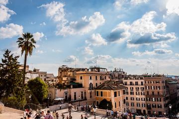 La place d'Espagne du haut de l'escalier de la Trinité-des-Monts de Rome