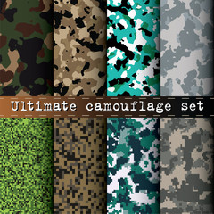 Ultimate camouflage set of 8 various camo patterns vector
