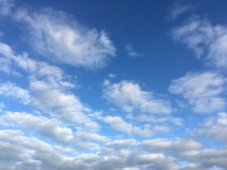 October sky with clouds in afternoon