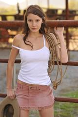 Beautiful Young Model at Arizona Ranch On Sunny Day