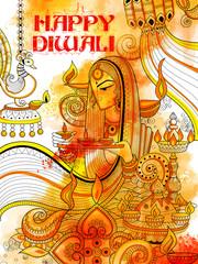 Burning diya on happy Diwali Holiday doodle background for light festival of India