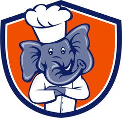Elephant Chef Arms Crossed Crest Cartoon