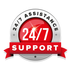 Red 24/7 support badge with ribbon and steel border