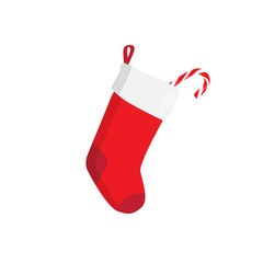 Red Christmas stocking with candy isolated on white. Decorative red sock with white fur and patches. Vector illustration for christmas, new year, decoration, winter holiday, silvester, tradition, etc