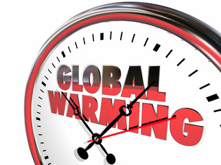 Global Warming Clock Temperatures Rising Climate Change 3d Illus
