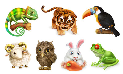 Funny animal set. Cartoon character 3d vector icon