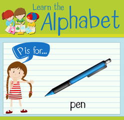 Flashcard letter P is for pen