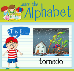 Flashcard letter T is for tornado
