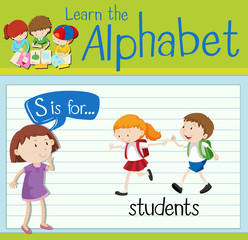 Flashcard letter S is for students