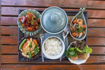 Thai food set on wood table