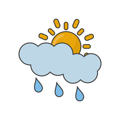 Sun cloud and rain icon. Weather sky and nature theme. Isolated design. Vector illustration