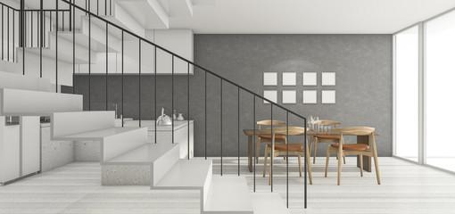 3d rendering loft room near kitchen with good design white stair