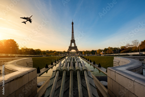 Luxury Airplane Over Eiffel Tower : Quot airplane flying over eiffel tower in morning paris