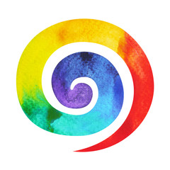 7 color of chakra symbol spiral concept, watercolor painting hand drawn