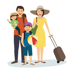 Happy Family on Summer Vacation with Suitcase