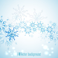 Winter blue horizontal background with snowflakes vector illustration. Natural winter light blue background for your design