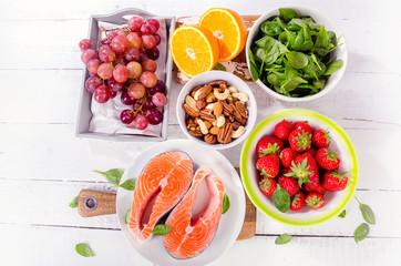 Food rich in antioxidant. Healthy food concept.