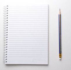 Blank note book with pen.