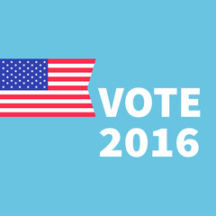Voting concept. President election day 2016. American flag. Isolated Blue background Flat design Card