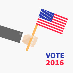 Businessman hand holding american flag. President election day 2016. Voting concept. Isolated White background Flat design Card