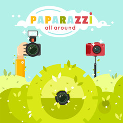 Paparazzi photographers hiding in green bushes with photo cameras vector illustration. Journalists sit in ambush and make sensational shot. Paparazzi all around concept in flat style