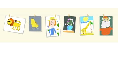 Иллюстрация с изображением цветных детских рисунков, развешанных на струне: лев, цыплёнок, портрет, натюрморт, жираф, Санта Клаус.