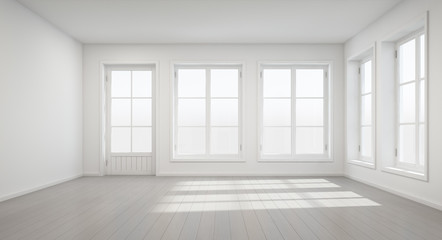 Vintage white room with door and window in new home - 3D rendering