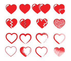 icon set vector illustration of red hearts
